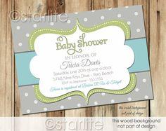 Bold Dots - Baby Sage Aqua and Gray Grey - Baby Shower Invitation - gender neutral - boy or girl - PRINTABLE Invitation Design
