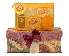A little sunshine and honey for your honey!  The Body Shop Honeymania Shower Scrub & Moisture Set in Rectangular Sunflower Decorative Gift Box