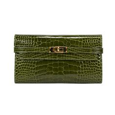 HERMÈS Portefeulle classique. Alligator Mississippiensis. Color vert Veronese. | From a collection of rare vintage handbags and purses at https://www.1stdibs.com/fashion/accessories/handbags-purses/