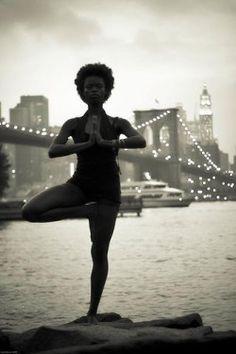 photography beauty fitspo exercise women Balance abs fitness workout yoga black women afro natural hair core yogi yogini naturalista black yogis natural sistas prayer hands balance pose black women do yoga