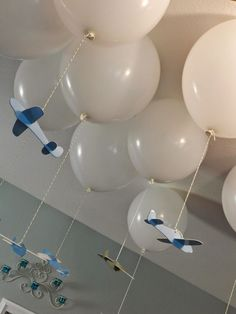 airplane baby shower and party decor - balloon clouds and planes!