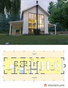 Very cool modern farmhouse with plans. Parts of this are really great. Farmhouse Plan 888-15. ArchitectNicholasLee