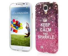 1pcs colorful decoration patinted Stick paste Keep calm and sparkle samsung galaxy s4 i9500 silicone