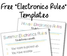 """""""Summer Electronics Rules"""" Checklist and free blank """"House Electronics Rules"""" template"""