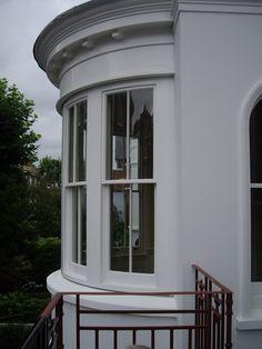 Curved bay sash windows
