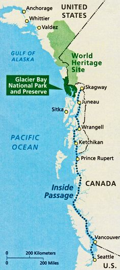 Map of the Inside Passage to the Glacier Bay National Park and Preserve. Kluane / Wrangell-St Elias / Glacier Bay / Tatshenshini-Alsek | Canada & United States of America