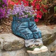 "Denim Planter, Item #48026, $47.99 Place your favorite plant inside and perch this pair of trousers on any shelf or patio wall for a unique fashion statement. Made of durable hand-painted polyresin. Measures 12"" tall and 14½"" in depth."
