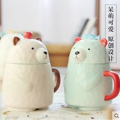 Creative 3D Stereo Cups Cute Cartoon Ceramic Mugs with a Lid Drinking Cups Milk Coffee Mugs Cereal Cups #Affiliate