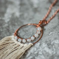 moonstone magic // shop our copper crescent moon dream catchers in the crescent moon collection // artifactadventure.CO