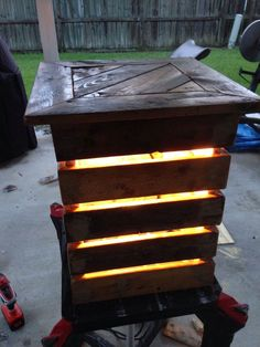 Nice Lighted Patio Table Made Out Of Wooden Pallets  #garden #light…