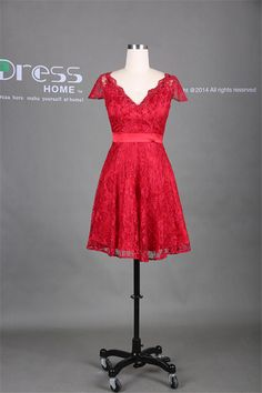 New Arrival 2014 Red V Neck Cap Sleeve Lace A Line Short Bridesmaid Dress/Lace Wedding Party Dress/Reception Dress/Homecoming Dress DH286