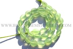 Parrot Green Chalcedony Smooth Oval (Quality AA) / 7x9 to 9x12 mm / 36 cm / CHALCEDO-003 by beadsogemstone on Etsy