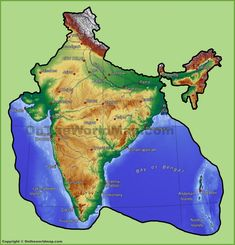 Printable Physical Map of India Unlabelled South Asia Physical