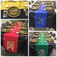 Harry Potter Baby Shower-- table decorations and place setting