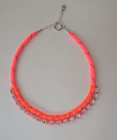Simple and Bright. Neon Pink Rope with Chunky Crystal Rhinestone by ZacariPiper, $35.00