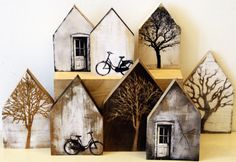 17 Best images about Altered Art, Mixed Media, Collage Assemblage . - 17 Best images about Altered Art, Mixed Media, Collage Assemblage … Wood Projects, Craft Projects, Ceramics Projects, Diy And Crafts, Arts And Crafts, Deco Nature, Paper Houses, Wooden Houses, Cardboard Houses