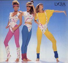 Numa década em que a cultura do corpo era o assunto do dia, as roupas em lycra para praticar exercício foram muito procuradas nos anos 80. Collants, maillots, perneiras e fitas para o cabelo surgiram em todas as cores e feitios, quanto mais vibrantes e excêntricas melhor.