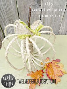 twelveOeight: DIY Sisal And Twine Pumpkins