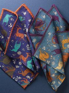 Wool and Silk Mythological Print Pocket Squares