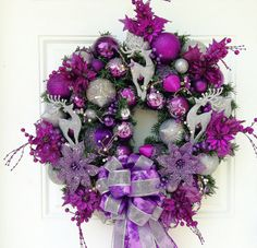 Purple Silver Christmas Wreath by ViennaSparkleWreaths on Etsy, $169.00