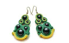 green grass earrings soutache Jewellery autumn  by Wanilia on Etsy, $25.00