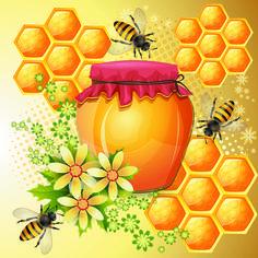 abelha e pote de mel