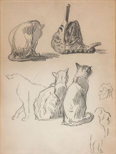 Sketch Book Cat Theophile Steinlen - Théophile-Alexandre Steinlen was an Art Nouveau printmaker, illustrator, painter and sculptor best known for his prolific portfolio of cat depictions. Cat Drawing, Figure Drawing, Drawing Sketches, Sketching, Cat Anime, Manga Anime, Kunst Inspo, Art Inspo, Animal Sketches