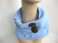 Sweater Cowl Neck Warmer with Natural Coconut Shell Buttons by FlowerCityThreads, $15.00