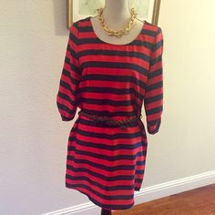 """GAP Red & Blue Striped Mini Dress w/ Braided Belt NEW GAP Red & Blue Striped mini dress with braided brown belt.  This dress screams, """"HELLO SPRING!!""""  Sleeves fall just below the elbows & can be pinned up with buttons.  Material: 100% polyester.  This dress will wear beautifully on cooler days with tights and warmer days with sandals. GAP Dresses Mini"""