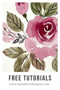 Learn to paint watercolor flowers on the Snowberry Design Co YouTube Channel. Easy, beginner floral tutorials. @snowberrydesignco #learntopaint