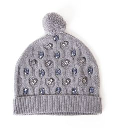 Markus Lupfer Cable-Knit Jeweled Beanie