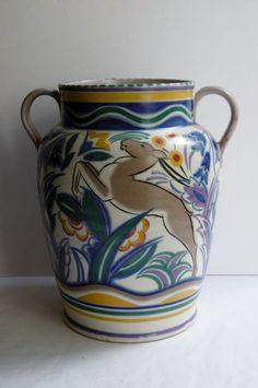 Big Art Deco Carter Stabler Adams Poole Pottery Leaping Gazelle Vase E Prangnell
