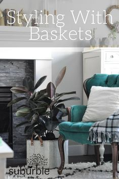 Use metal baskets to style plants, blankets and more in your living space. See how a trio of neutral baskets from Lowe's changes the styling in our room!