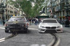 Montaje Slot Cars in las Ramblas Barcelona. By Aloyshop.com