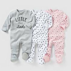 Pijama, algodão interlock (lote de 3) 0 meses-3 anos PEQUENOS PREÇOS