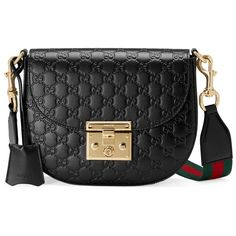 Padlock Gucci Signature Leather Shoulder Bag ($1,980) ❤ liked on Polyvore featuring bags, handbags, shoulder bags, black, genuine leather purse, real leather purses, genuine leather shoulder bag, shoulder strap purses and leather handbags