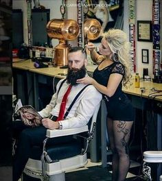 Is your barber this hot via Beards And Mustaches, Barber Haircuts, Haircuts For Men, Beard No Mustache, Moustache, Beard Growth Tips, Hair And Beard Styles, Hair Styles, Barber Shop Decor