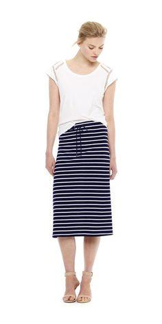Stripe Midi Skirt from Joe Fresh. Earn your stripes in our latest midi length skirt. Only $19.