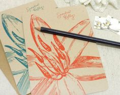 personalized note cards stationery set - GARDEN LILY flower bloom - set of 8 - personalized kraft stationary - folded note cards