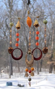 Vintage Charm Upcycled Jewelry  Windchime or Mobile Home and Garden Decor Yard Art Whimsy. $14.00, via Etsy.