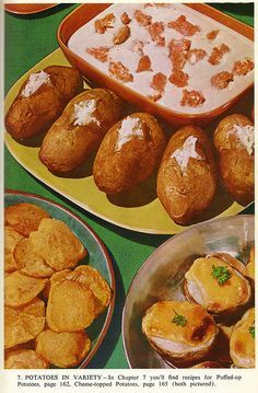 Potatoes in Variety (Thoth, God of Knowledge) Tags: grandma cheese dinner vintage mom cookbook potatoes grandmother antique farm country cook puff vegetable meat retro meal variety 1972 1959 puffed retrofood farmjournal countrycookbook 60s Party Themes, Dinner Themes, Party Ideas, Dinner Party Recipes, Appetizers For Party, Retro Recipes, Vintage Recipes, 1960s Food, Mad Men Party