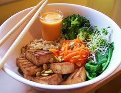 Cookin' from a bitchin kitchen...: Buddha Rice Bowl with Ginger-Carrot Dressing, inspired by aux vivres