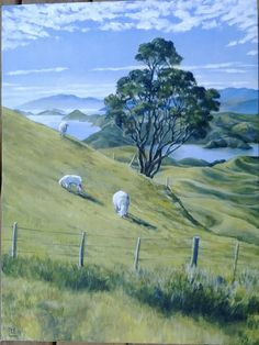 Sheep grazing across the coromandel Acrylic on canvas