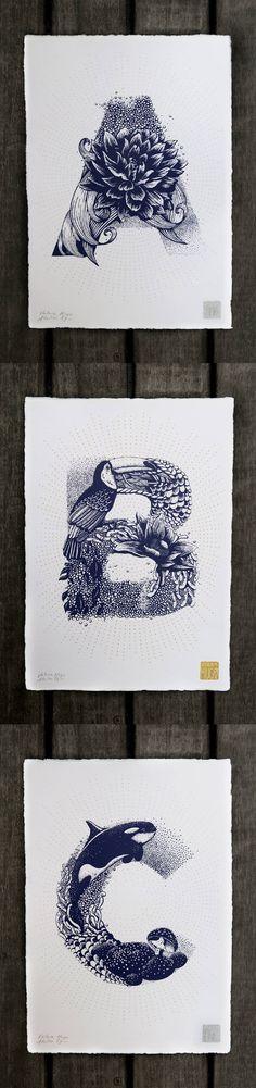 花卉和动物的字母式结合,美得不可方物!(... 来自优秀网页设计 - 微博