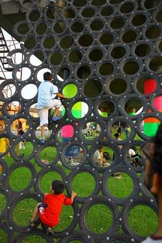 Neat use for old tires - via Playground in Peru.  This is the other side of the crazy zip line picture.  They know how to play in Peru.