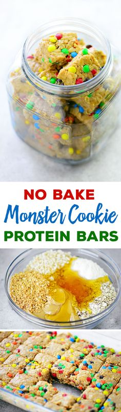 These No Bake Monster Cookie Protein Bars are a chewy, crunchy, delicious breakfast that goes well with a cup of coffee. They also are a great snack option!