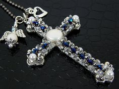 Beaded Cross Necklace White Pearl & Blue Spiritual by BonzerBeads, $30.00