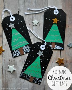 Kid-Made Christmas Tree Gift Tags from I Heart Crafty Things.
