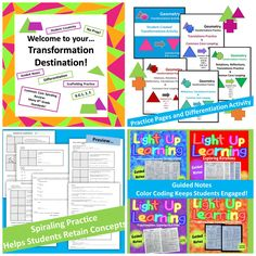 Transformations Bundle...Great Value! Guided Notes, Spiraling Practice Pages, Cooperative Learning!