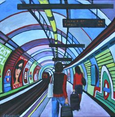 A gallery of Gail Brodholt's work, ranging from small linocuts to large oil paintings. Her work, heavily featuring London transportation relies on strong colours A Level Art Sketchbook, London Painting, London Underground, Canvas Poster, Detail Art, Illustrations And Posters, Architecture Art, Printmaking, Photo Art